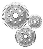 Metallic Gear Wheels Vectors — Stock Vector