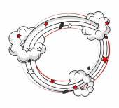 Bursting Clouds Frame Banner — Stock Vector