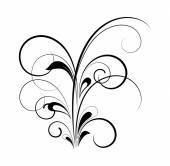 Black Floral Swirl Design — Stock Vector