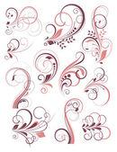 Conjunto de elementos vintage florecer decorativa color — Vector de stock