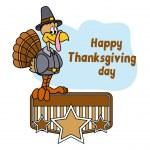 Happy Turkey Bird Retro Banner Frame — Stock Vector #63097693