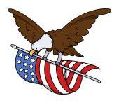 Eagle Bird Flying with USA Flag Vector — Stock Vector