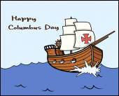 Happy Columbus Day Sailing Boat Vector Graphic — Stock Vector