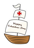 Happy Columbus Day Sailing Boat — Stock Vector