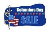 Columbus Day Sale Banner with Sword Flag Vector — Stock Vector