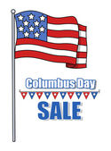 Columbus Day Sale Banner with Flag — Stock Vector