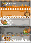 Thanksgiving Day Vector Banners Set — Stock Vector