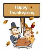 Thanksgiving Day Cartoon People with Banner Board — Stock Vector