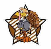 Retro Star Turkey Character Graphic — Stock vektor
