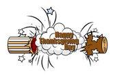 Happy Thanksgiving Day Bursting Bomb Banner — Stock Vector