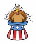 Turkey Bird in Uncle Sam Hat — Stock Vector