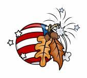 Oak Nuts Leaves USA Flag Globe Vector — Stock Vector