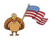 Happy Turkey Holding a USA Flag — Stock Vector