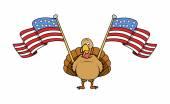 Tukey Bird with USA Flags — Stock Vector