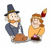 Thanksgiving Day Cartoon Characters with Food — Stock Vector