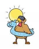Funny Turkey Bird Going to Swim — Vector de stock