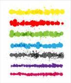 Colorful Splashes Strokes Vectors — Stock Vector