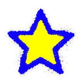 グランジの黄色と青星のフレーム — ストックベクタ