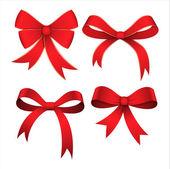 Set of Red Ribbon Bows — Stock Vector