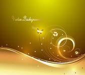 Decorative Bright Golden Floral Backdrop — Stock Vector