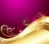 Bright Golden Flora Art — 图库矢量图片