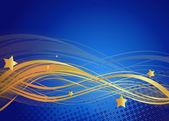 Wavy Lines Stars Background — Stock Vector