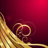 Wavy Golden Floral Background — Stockvektor