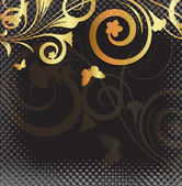 Golden Floral Halftone Backdrop — Vettoriale Stock
