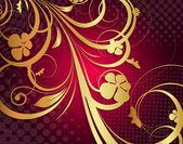 Golden Flora Design Art — Stock Vector