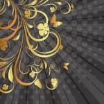 Retro Sunburst Golden Flora — Stock Vector #63929319
