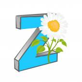 Vector Z Alphabet with Flower — Stock Vector