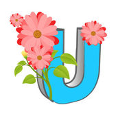 Vector U Alphabet with Flower — Stockvektor
