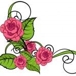 Valentine Roses Flourish Corner — Stock Vector #64337351