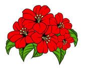 Vector Red Flowers Bunch — Cтоковый вектор