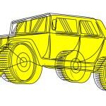Ancient Jeep Vector Sketching — Stock Vector #64551293