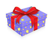 Christmas Gift Wrapped with Ribbon — Vetor de Stock