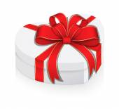White Heart Box Wrapped with Ribbon Bow — Vetor de Stock