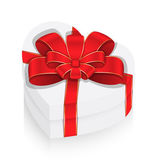 White Heart Box with Ribbon Bow — Vetor de Stock