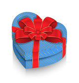 Heart Box Wrapped with Ribbon — Vetor de Stock