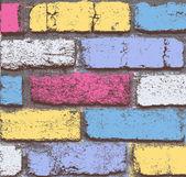 Rough Colored Grunge Bricks Wall — Stock Vector
