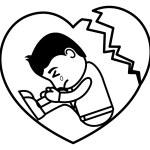 Broken Heart Sad - Office and Business People Cartoon Character Vector Illustration Concept — Stock Vector #64785167