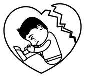 печальное разбитое сердце - офис и векторное понятие иллюстрации анимационного персонажа деловых людей — Cтоковый вектор