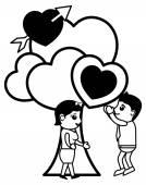 Love Tree Retro Cartoon Character — Stock Vector