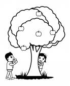 Playing Around Tree - Vector — Stock Vector
