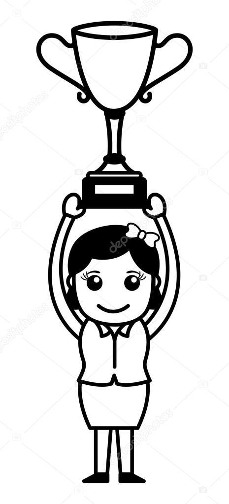 Winner Girl - Cartoon Office Vector Illustration — Stock ...