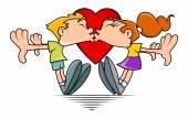 Funny Cartoon Couple Kissing — Stock Vector