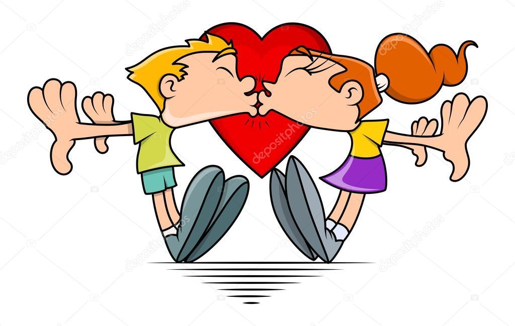 Funny couple kiss