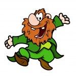 Very Happy Leprechaun Without Hat Dancing — Stock Vector #70025355