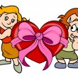 Funny Kid Couple with Heart Gift — Stock Vector #70026891