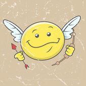Happy Cupid Smiley - Retro Graphic Background — Stockvektor